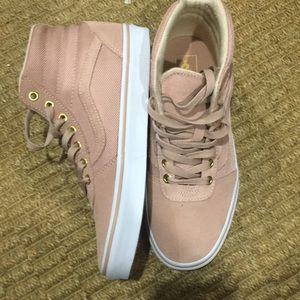 65b4daa3cb Vans Shoes - Vans women size 8.5 blush pink and white high top